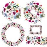 Щетка картины sprigs будочек и зацветая цветков стоковая фотография rf