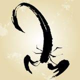 Щетка китайских росписей стиля скорпиона Стоковые Фото