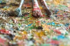 Щетка, краска, художническая Стоковые Фото