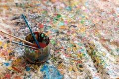 Щетка, краска, художническая Стоковые Изображения RF