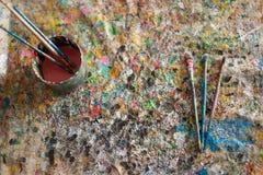 Щетка, краска, художническая Стоковое Изображение
