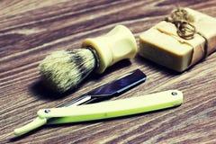 Щетка мыла бритвы острая Стоковые Изображения RF