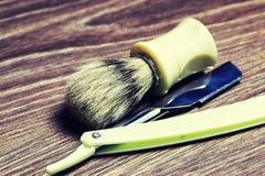 Щетка мыла бритвы острая Стоковая Фотография