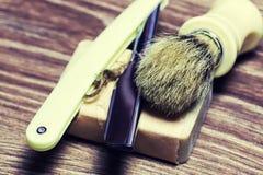 Щетка мыла бритвы острая Стоковая Фотография RF