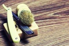 Щетка мыла бритвы острая Стоковое Фото