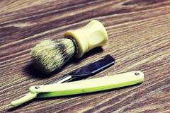 Щетка мыла бритвы острая стоковые фотографии rf