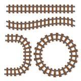 Щетка рельсовых путей вектора пассажирского поезда, железнодорожный путь или элементы железной дороги изолированные на белой пред Стоковая Фотография RF