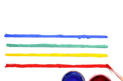 Щетка с краской и покрашенными нашивками Стоковые Изображения