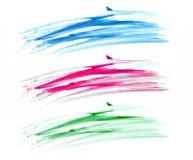 Щетка штрихует изолят знамен на белизне Стоковое Изображение RF