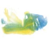 Щетка aquarel watercolour splatter желтого цвета зеленого цвета хода известки изолята акварели чернил цвета выплеска краски голуб Стоковые Фото