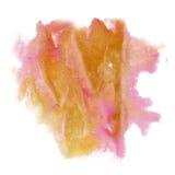 Щетка aquarel watercolour splatter хода чернил цвета выплеска краски оранжевой розовой изолированная акварелью Стоковое Изображение RF