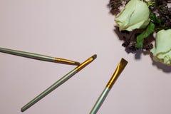 Щетки для макияжа на розовой предпосылке стоковое фото rf