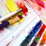 Щетки и краски aquarelle Стоковые Изображения RF