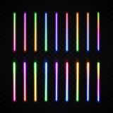 Щетки неона Галоид или лампа приведенная на прозрачном иллюстрация вектора