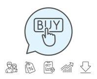 Щелчок для того чтобы купить линию значок Онлайн знак покупок бесплатная иллюстрация