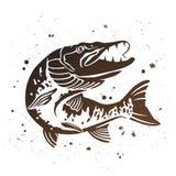 Щука вектора захватническая Стилизованное изображение рыб бесплатная иллюстрация