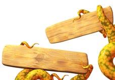 щупальца изверга удерживания доски деревянные Стоковое Изображение RF
