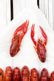Ые Crawfish woden предпосылка Деревенский тип Меню морепродуктов стоковое изображение