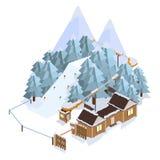 лыжа курорта Ландшафты горы Иллюстрации вектора равновеликие Стоковые Изображения