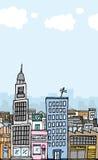 Vector город шаржа с copyspace Стоковая Фотография