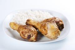 ый зажаренный в духовке рис ног цыпленка Стоковая Фотография RF