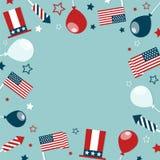 4-ый из рамки концепции в июле с праздничными атрибутами и космоса для текста бесплатная иллюстрация