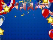 4-ый из США -го Дня независимости в июле, шаблона вектора с американским флагом и покрашенных воздушных шаров на голубой сияющей  иллюстрация штока