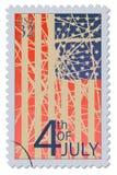 4-ый из штемпеля почтового сбора в июле Стоковые Изображения RF