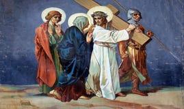 4-ый крестный путь, Иисус встречает его мать Стоковые Изображения