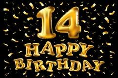 14-ый логотип с днем рождений Красивый плакат поздравительной открытки с фейерверками золота слова каллиграфии нарисованная конст Стоковое фото RF