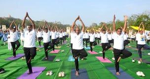 4-ый международный день йоги отпразднованный в Бхопале Стоковая Фотография RF