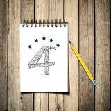 4-ый номер на тетради с карандашем, Стоковая Фотография RF