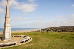 1-ый памятник пехотной дивизии около пляжа Омахи, Нормандия - Стоковые Фотографии RF