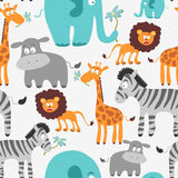 Ыeamless pattern with African animals Royalty Free Stock Photos