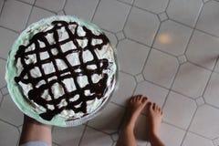 льдед вишен торта cream стоковые фото