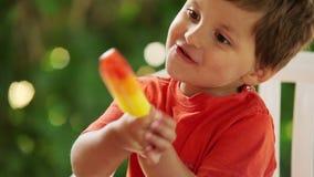 льдед еды мальчика cream сток-видео