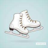 льдед удерживания руки крупного плана предпосылки женский outdoors катается на коньках снежок также вектор иллюстрации притяжки c иллюстрация штока