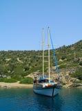 эгейская причаленная яхта моря Стоковая Фотография