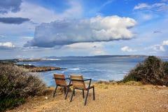 Эгейское море, накидка Sounion, Attica, Греция Стоковые Фото
