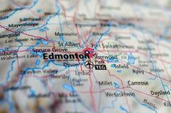 Эдмонтон на карте Стоковая Фотография