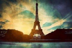 Эйфелеваа башня в Париже, Fance в ретро типе. Стоковое Изображение RF