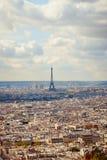 Эйфелева башня, вид на город от Montmartre, Парижа, Франции Стоковое Изображение RF