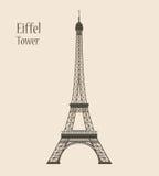 Эйфелева башня в Париже - иллюстрации вектора силуэта Стоковые Фотографии RF