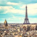 Эйфелева башня в позднем вечере, Париж Стоковое Изображение RF