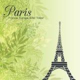 Эйфелева башня Парижа вектора на зеленой предпосылке весны листьев бесплатная иллюстрация
