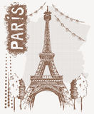 Эйфелева башня эскиза в Париже, Франции Иллюстрация вектора в типе год сбора винограда Дизайн футболки с Эйфелева башней чертежа  Стоковое фото RF