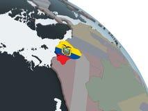 Эквадор с флагом на глобусе иллюстрация вектора