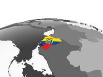Эквадор с флагом на глобусе иллюстрация штока