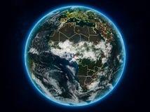 Экваториальная Гвинея на земле на ноче стоковое фото