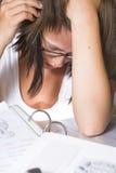 экзамен крупного плана учя студента стоковое фото